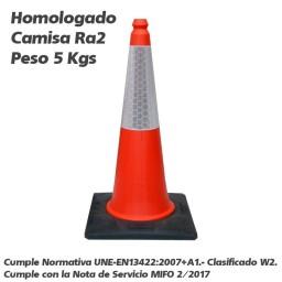 CONO TRAFICO 75 CMS 2 PIEZAS HOMOLOGADO PARA OBRAS DE...